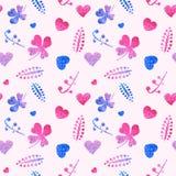 Modèle sans couture des coeurs roses et des éléments floraux Photos libres de droits