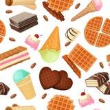 Modèle sans couture des desserts et des bonbons de vaffel Image libre de droits