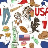 Modèle sans couture des Etats-Unis de croquis Photographie stock libre de droits