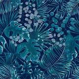 Modèle sans couture des feuilles vertes fond tropical vert dans W images libres de droits