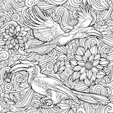 Modèle sans couture des fleurs et des perroquets illustration libre de droits