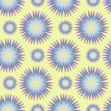 Modèle sans couture des fleurs stylisées dans la couleur bleue sur un fond jaune Illustration de vecteur Photographie stock libre de droits