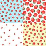 Modèle sans couture des fraises mûres délicieuses Photographie stock libre de droits
