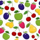 Modèle sans couture des fruits et des baies mûrs Photo libre de droits
