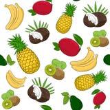 Modèle sans couture des fruits tropicaux illustration de vecteur