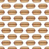 Modèle sans couture des hot-dogs illustration libre de droits