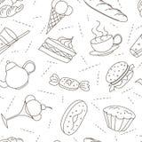 Modèle sans couture des icônes de griffonnage d'ensemble pour le thé image stock