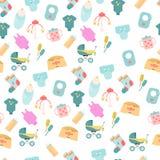 Modèle sans couture des icônes de marchandises de bébé Icônes plates d'enfants Illustration Libre de Droits