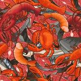 Modèle sans couture des illustrations de fruits de mer Photo stock