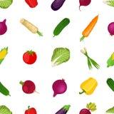 Modèle sans couture des légumes sains, produit de la ferme Bande dessinée la Floride Photos libres de droits