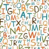 Modèle sans couture des lettres tirées par la main Images libres de droits