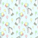 Modèle sans couture des licornes de sourire cartoony tirées par la main avec des ballons Le fond d'image de vecteur pour des vaca illustration stock
