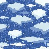 Modèle sans couture des nuages et des étoiles sur le ciel bleu-foncé Illustration Stock