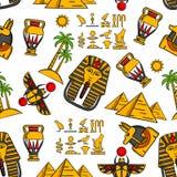 Modèle sans couture des ornements égyptiens antiques Images libres de droits