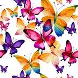 Modèle sans couture des papillons lilas illustration de vecteur
