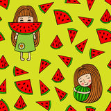Modèle sans couture des pastèques et des petites filles Image libre de droits