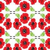 Modèle sans couture des pavots rouges avec les feuilles vertes Illustration de vecteur illustration stock