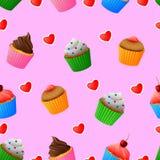 Modèle sans couture des petits gâteaux colorés délicieux illustration libre de droits
