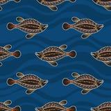 Modèle sans couture des poissons Art australien illustration libre de droits