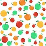 Modèle sans couture des pommes colorées avec une feuille sur un CCB blanc illustration stock