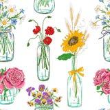 Modèle sans couture des pots de maçon avec des fleurs Photos stock