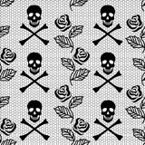 Modèle sans couture des roses et des crânes Photo libre de droits