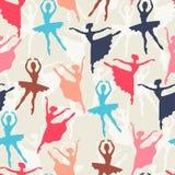 Modèle sans couture des silhouettes de ballerines dedans Photos stock