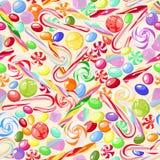 Modèle sans couture des sucreries douces assorties Vecteur illustration stock