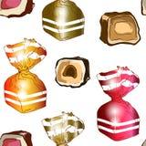 Modèle sans couture des sucreries lumineuses en emballages illustration de vecteur