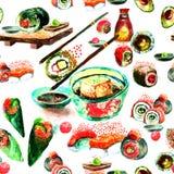 Modèle sans couture des sushi d'aquarelle et de la nourriture japonaise Image libre de droits