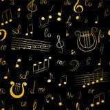 Modèle sans couture des symboles de musique tirés par la main Clef triple de griffonnage d'or, Bass Clef, notes et lyre Image stock