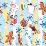 Modèle sans couture des symboles de Noël et de la nouvelle année images stock