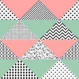 Modèle sans couture des triangles avec différentes textures Le patte Photo stock