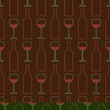Modèle sans couture des verres de vin, bouteilles de vin Vinification échantillon sommelier illustration de vecteur