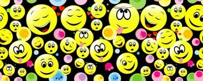 Modèle sans couture des visages souriants exprimant différents sentiments Illustration de Vecteur