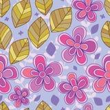 Modèle sans couture diagonal de feuille de fleur Photos stock