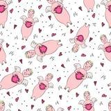 Modèle sans couture drôle pour l'ange de porc de la Saint-Valentin w0itn illustration libre de droits