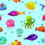Modèle sans couture drôle avec les caractères sous-marins illustration libre de droits