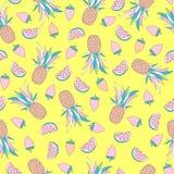 Modèle sans couture drôle avec les fruits tropicaux illustration de vecteur