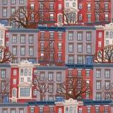 Modèle sans couture du bâtiment à plusiers étages avec des arbres comme le dessin de rue dans le montant d'enfants images libres de droits