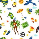 Modèle sans couture du Brésil avec les objets stylisés et Image libre de droits