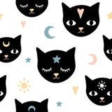 Modèle sans couture du chat de la sorcière illustration de vecteur