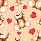 Modèle sans couture du jour de beau Teddy Bear Saint Valentine de bande dessinée Images libres de droits