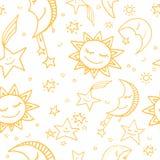 Modèle sans couture du soleil, de lune et d'étoiles Illustration de Vecteur