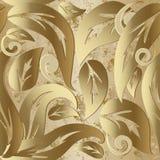 Modèle sans couture du vecteur 3d baroque de vintage d'or illustration stock
