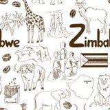 Modèle sans couture du Zimbabwe de croquis Image stock