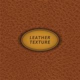 Modèle sans couture en cuir de Brown Photographie stock