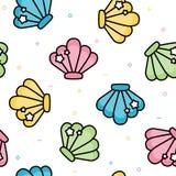 Modèle sans couture en pastel de coquille mignonne de mer illustration de vecteur