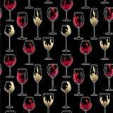Modèle sans couture en verre de vin Image stock