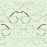 Modèle sans couture en verre, rétros lunettes de soleil Illustration de vecteur Image stock